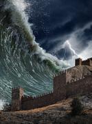 Jättiläinen tsunamin aallot kaatuu vanha linnoitus Piirros