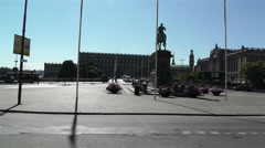Stockholm Downtown 19 royal palace and parliament view Stock Footage