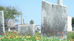 Old gravestones slider shot Stock Footage