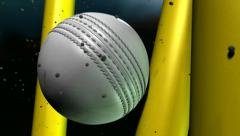 Cricket ball white hitting wickets Stock Footage