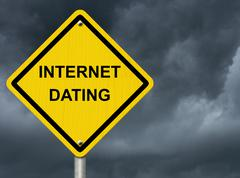warning about internet dating - stock illustration