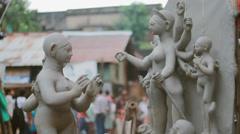 Unfinished Durga Idol Stock Footage