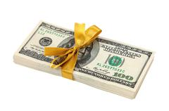 Stack of ten thousand dollar piles of one hundred dollar bills isolated on wh Stock Photos