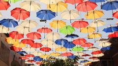 Multicolored Umbrellas Fun Stock Footage