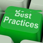 best practices key shows improving business quality - stock illustration