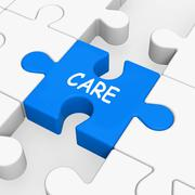 Care puzzle means concerned careful or caring Stock Illustration