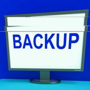 Backup screen shows archiving back up and storage Stock Illustration