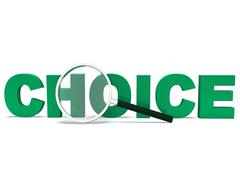 Choice word shows choices uncertain or options Stock Illustration