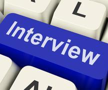Interview key shows interviewing interviews or interviewer Stock Illustration