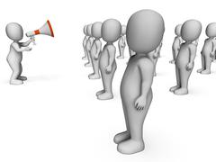 megaphone manager shows authority speech agreement explaining and leading - stock illustration