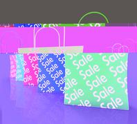 Stock Illustration of sale reduction shopping bags shows bargains