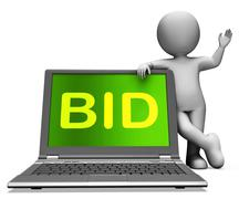 Stock Illustration of bid laptop and character shows bidder bidding or auctions online