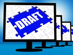 Draft screen shows outline documents or email letter online Stock Illustration