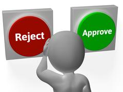 reject approve buttons show refusal or accepted - stock illustration