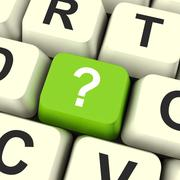 Stock Illustration of question mark key shows doubt and help.