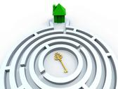Stock Illustration of key to house in maze shows property search