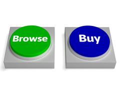 Stock Illustration of browse buy buttons shows browsing or buying