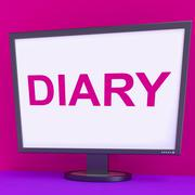 Stock Illustration of diary screen shows online planner planning or scheduler