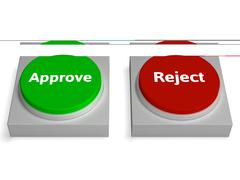 approve reject buttons shows approving - stock illustration