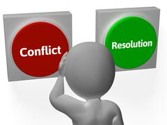 resolution conflict buttons show fighting or arbitration - stock illustration