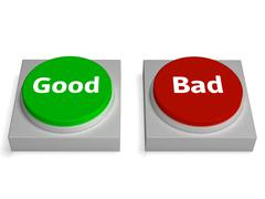 good bad buttons shows approved or refuse - stock illustration