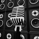 Stock Illustration of microphone and loud speakers shows music industry concert or entertainment