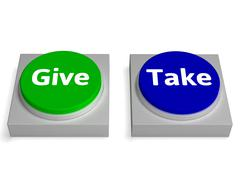 Stock Illustration of give take buttons shows giving or taking