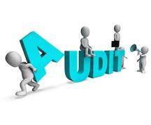 audit characters shows auditors auditing or scrutiny - stock illustration