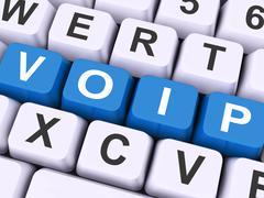 Voip keys on keyboard show voice over internet protocol. Stock Illustration