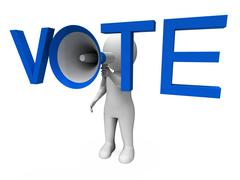 Vote hailer shows voting poll and polling Stock Illustration