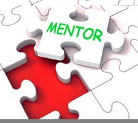mentor puzzle shows advice mentoring mentorship and mentors - stock illustration