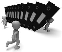 Organizing files showing organized archives Stock Illustration