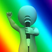Singing character shows music songs or perform Stock Illustration