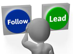 Follow lead buttons show leading the way or following Stock Illustration