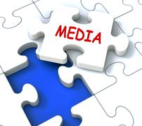 media jigsaw shows news multimedia newspapers radio or tv - stock illustration