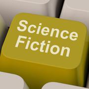 Science fiction-näppäintä osoittaa scifi kirjoja ja elokuvia Piirros