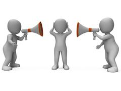 Loud hailer characters show megaphone attention explaining and bullying Stock Illustration