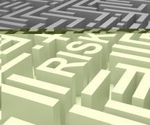 risk maze shows dangerous or risky - stock illustration