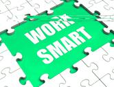 Work smart puzzle shows intelligent clever worker Stock Illustration