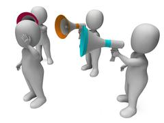 Loud hailer character shows megaphone shouting yelling and bullying Stock Illustration