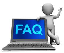 faq laptop and character shows solution and frequently asked questions - stock illustration