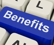 Benefits key means advantage or reward. Stock Illustration