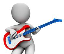 rock guitarist playing shows music guitar and rocker character - stock illustration