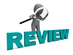 Review character shows assess reviewing evaluate and reviews Stock Illustration