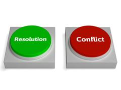 conflict resolution buttons show dispute or negotiating - stock illustration