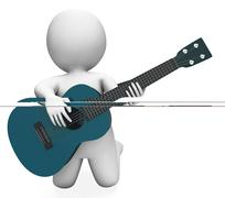 Stock Illustration of guitarist performer shows acoustic guitars music and performance