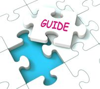 Stock Illustration of guide puzzle shows consulting guidance guideline and guiding