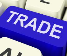 Trade key shows online buying and selling Stock Illustration