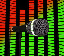 Graphic equalizer and microphone shows pop music soundtrack or concert Stock Illustration