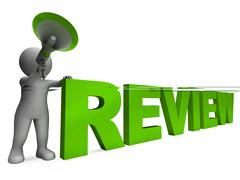 Stock Illustration of review character shows assessing evaluating evaluate and reviews